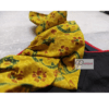 Black Glossy Cotton With Yellow Ajrak Frill Blouse 1