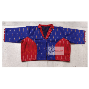Blue Red Ikkat Blouse With Collar Front