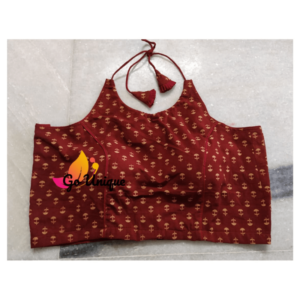 Brown Sleeveless Ajrak With Lace