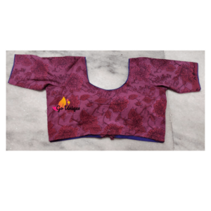 Pink Ajrak Blouse With Back V And Lace Front