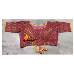 Pink Ajrak Blouse With Lace Front