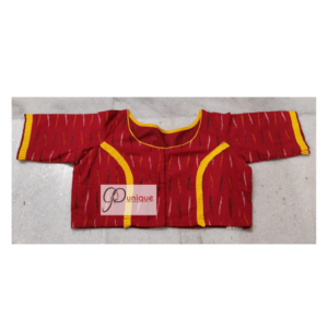 Red Ikat With Yellow Black Shade And Yellow Piping Blouse 1