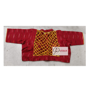 Red Ikkat Blouse With Back Yellow Criss Cross Back