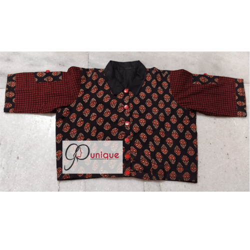 Black Ajrak With Brown Sleeves And Black Collar 1