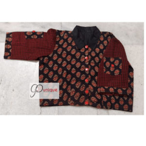 Black Ajrak With Brown Sleeves And Black Collar