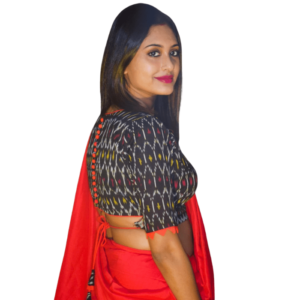 Black Ikkat Blouse With Red Lace