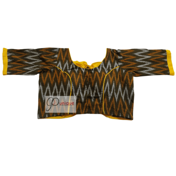 Black Ikkat Body With Yellow Cotton Bow And Frill 1