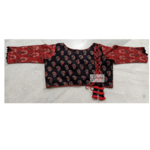 Black Ajrak With Red Flower Brownisg Red Sleeves Red Crisscross 1