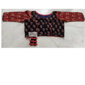 Black Ajrak With Red Flower Brownisg Red Sleeves Red Crisscross 2