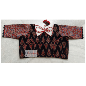Black Ajrak With Red Flower Red Blue Sleeves W Neck 1