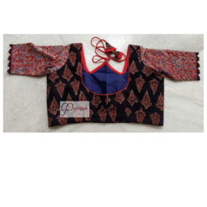 Black Ajrak With Red Flower Red Blue Sleeves W Neck