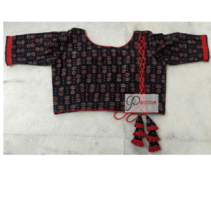Black Ajrak With Red Flower Red Crisscross