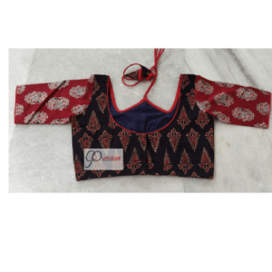 Black Ajrak With Red Sleeves W Neck 1