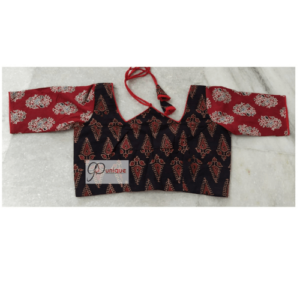 Black Ajrak With Red Sleeves W Neck 2
