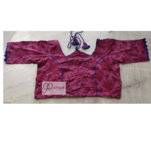 Pink Ajrak With Blue Pip;ing And Frill W Neck