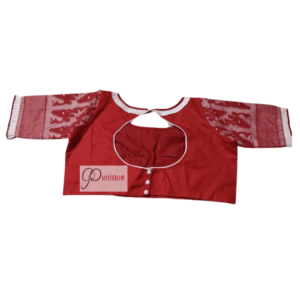 Red Glossy Cotton Body With Red White Jamdani Sleeves