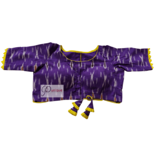 Violet Ikkat Blouse With Yellow Frill And Latkan