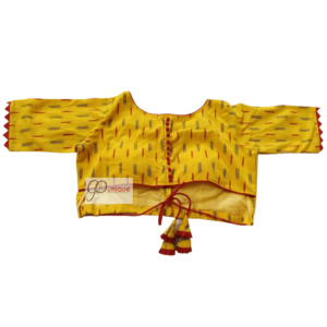 Yellow Ikkat Blouse With Red Frill And Red Yellow Latkan 2