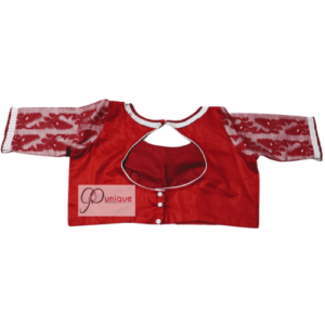 Red Glossy Cotton Body And Red White Jamdani Sleeves Blouse 1