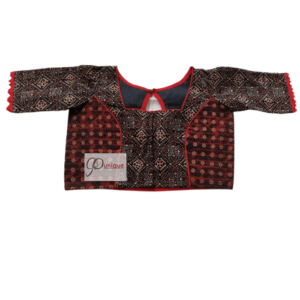 Black Brown Combination Ajrak Blouse With Red Frill 1