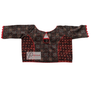 Black Brown Combination Ajrak Blouse With Red Frill