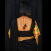 Black Khadi Blouse With Multi Colour Check Sleeves 1