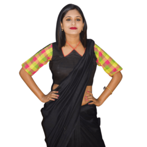Black Khadi Blouse With Multi Colour Check Sleeves 2