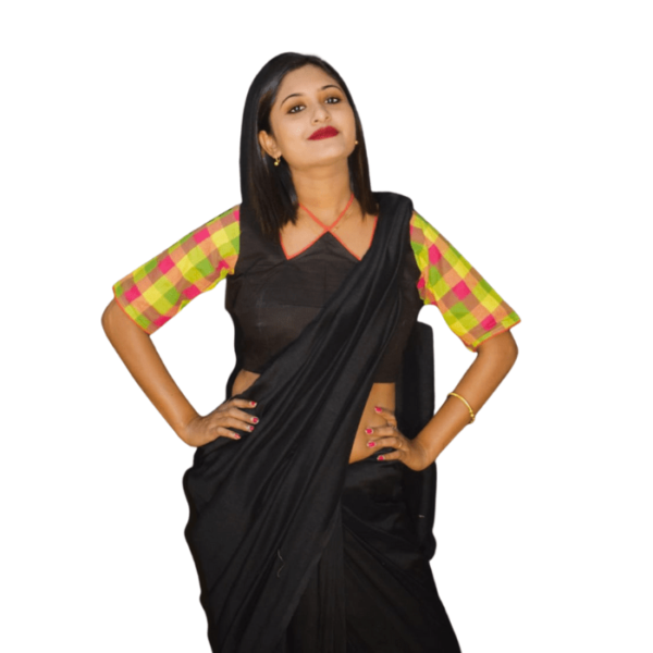 Black Khadi Blouse With Multi Colour Check Sleeves 4