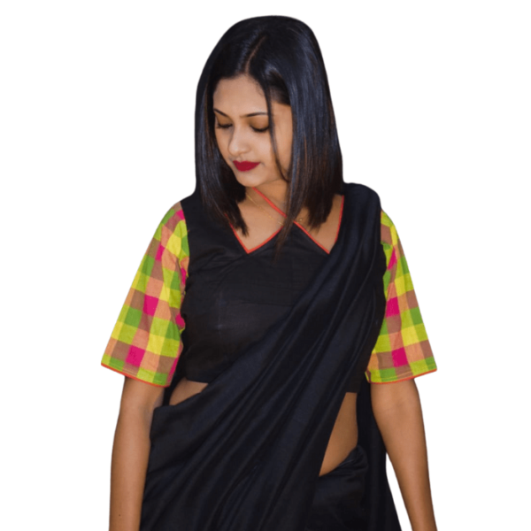 Black Khadi Blouse With Multi Colour Check Sleeves