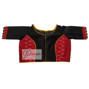 Red Ikkat With Black Khadi Glass Sleeves Blouse