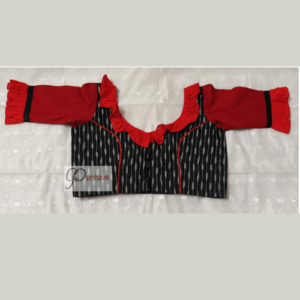 Black Ikkat Body With Red Khadi Sleeves And Neck Frill Blouse 1