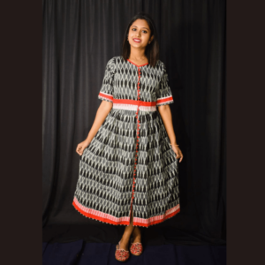 Black Ikkat Dress With Red Border And Frill