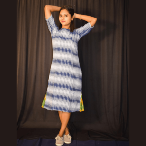 Blue White Ikkat Dress With Green Yellow Side Design 1