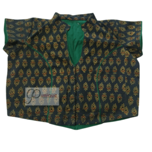 Green Ajrak Blouse With Collar And Green Piping