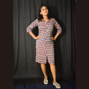 Multi Colour Ikkat Dress With Collar 2
