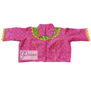 Pink Jamdani With Yellow And Green Neck Design And Pink Collar Blouse