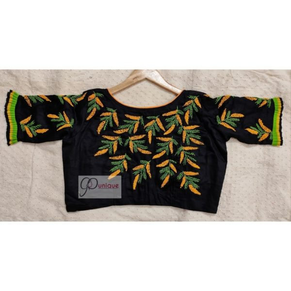 black yellow green hand embroidery blouse with frills 1