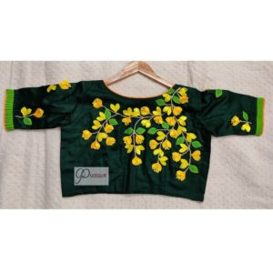 green cotton silk with kagoj full 3d embroidery blouse2