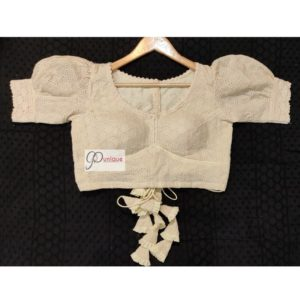 offwhite hakoba with crochet lace blouse