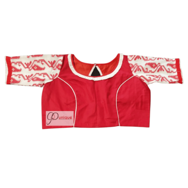 Red Cotton Silk Body With Red White Jamdani Sleeves 1