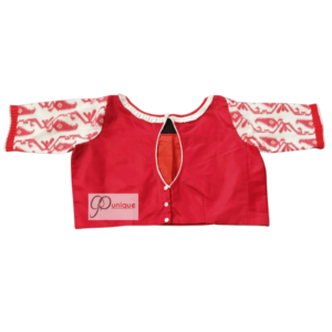Red Cotton Silk Body With Red White Jamdani Sleeves