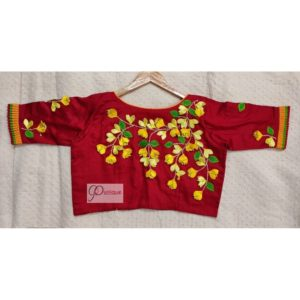 red cotton silk with kagoj full 3d embroidery blouse2
