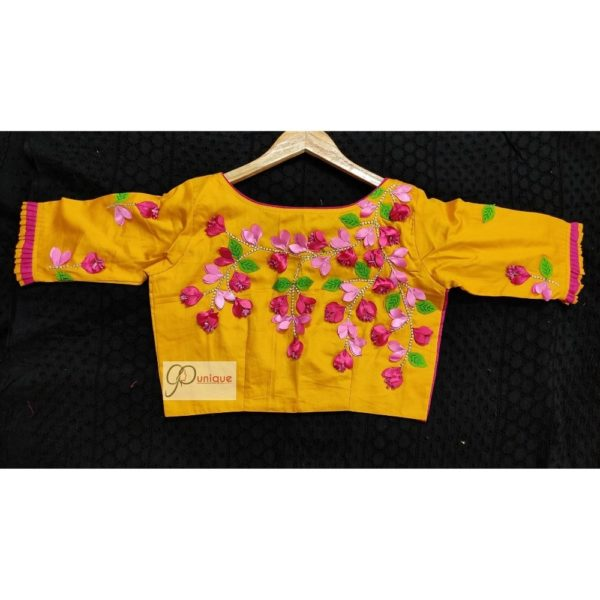 yelow cotton silk with kagoj full 3d embroidery blouse1