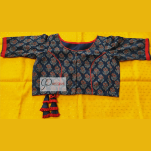 Blue Ajrak Blouse With Criss Cross At The Back