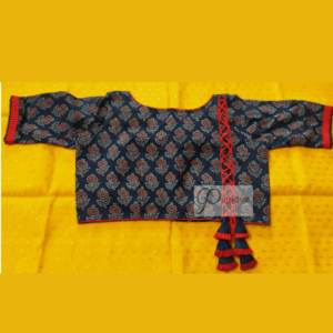 Blue Ajrak Blouse With Criss Cross At The Back 1