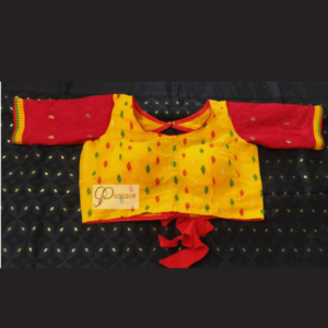 Yellow Jamdani Bldy With Red Sleeves And Yellow Frill Blouse