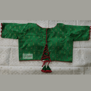 Green Ikkat Blouse With Red Piping And Frill 1