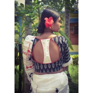 black and white combination blouse with white frill and red piping(1)