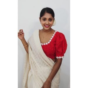 red hakoba blouse with white flower lace and puff sleeves