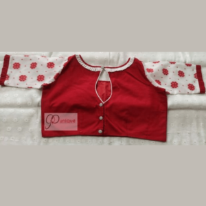 red cotoon silk body with red white jamdani flower motive sleeves blouse